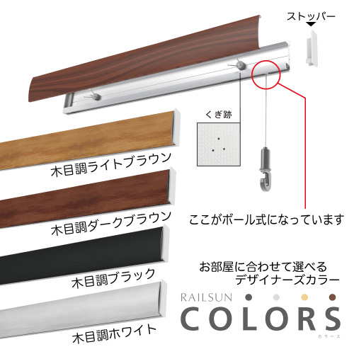RAILSUN【COLORS】 ピクチャーレール【+金具セット】ボール式(後付・壁面用)